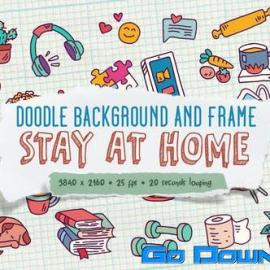 Videohive Doodle Background and Frame – Stay At Home Free Download