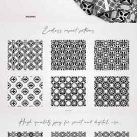 Black & White Ornament Seamless Patterns Free Download