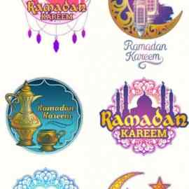 Colorful Islamic Ramadan Kareem Illustrations Badges Vector Templates Free Download