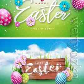 Happy Easter holiday with painted egg, rabbit ears and flower Font Free Download