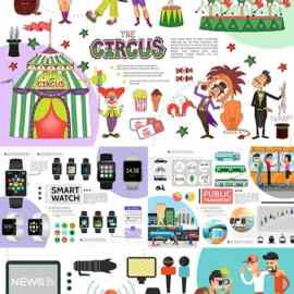 People objects and animals collection infographic elements and icons Free Download