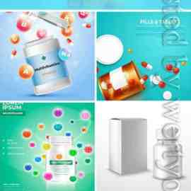 Vitamins and pills in vector Free Download