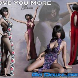 Love You More Gown for Genesis 8 Female Free Download