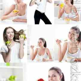 Healthy food girls with fruits stock photo Free Download