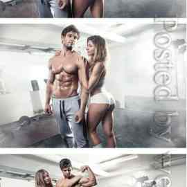 Girl and man in the gym Free Download