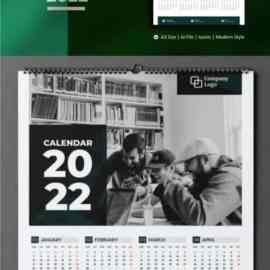 One Page Calendar 2022 – A3 Vector Design Template Free Download