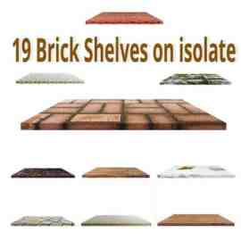 19 Brick Shelves on isolate Free Download