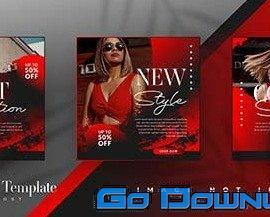 Black red fashion sale social media post templates  Free Download