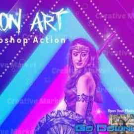 CreativeMarket Neon Art Photoshop Action 648600 Free Download