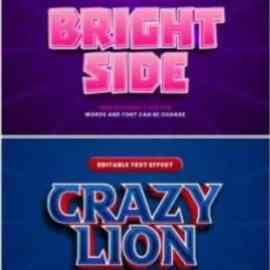 Set 3d editable text style effect vector vol 62 Free Download