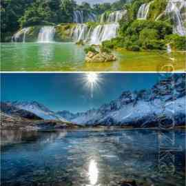 Waterfalls and bodies of water set stock photo Free Download
