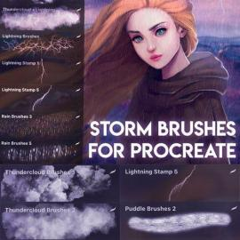 8 Storm Brushes for Procreate Free Download