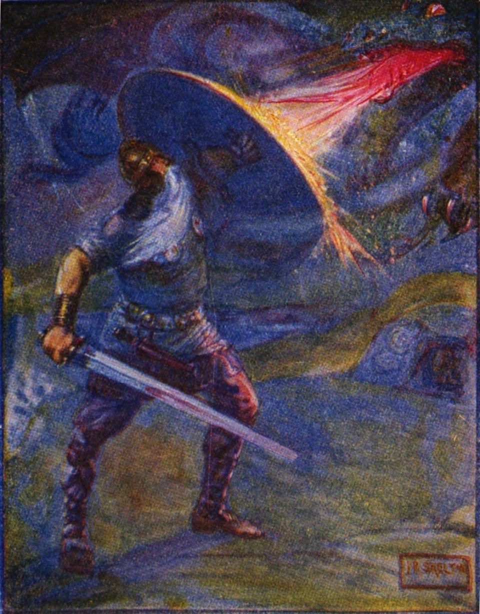 beowulf_fighting_the_dragon - wiki commons public domain