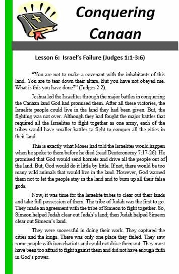 Conquering Canaan (Lesson 6: Israel's Failure)