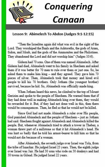 Conquering Canaan (Lesson 9: Abimelech To Abdon)