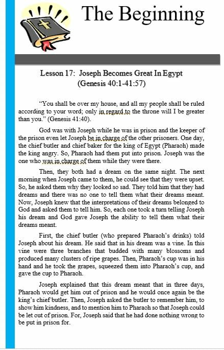 The Beginning (Lesson 17: Joseph Becomes Great In Egypt)