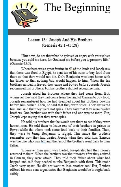 The Beginning (Lesson 18: Joseph And His Brothers)