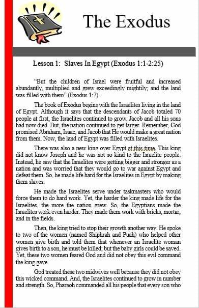 The Exodus (Lesson 1: Slaves In Egypt)