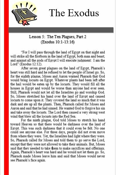The Exodus (Lesson 5: The Ten Plagues (Part 2) )