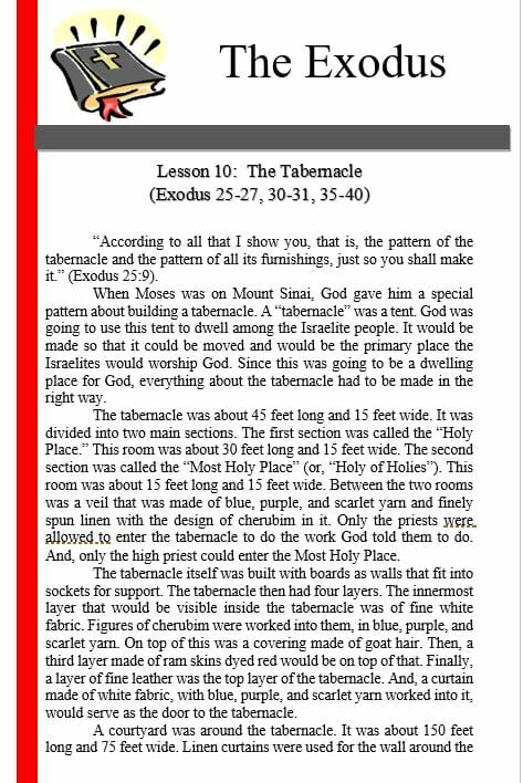 The Exodus (Lesson 10: The Tabernacle)
