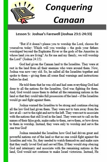 Conquering Canaan (Lesson 5: Joshua's Farewell)
