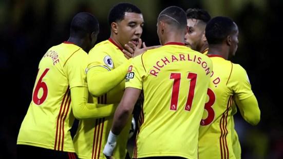 Les joueurs de Watford célèbrent le but de Troy Deeney contre Arsenal.
