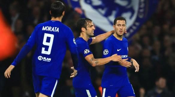 Alvaro Morata, Cesc Fabregas et Eden Hazard.