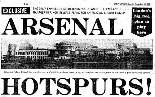 La Une du Daily Express lors du projet de stade commun entre Arsenal et Tottenham