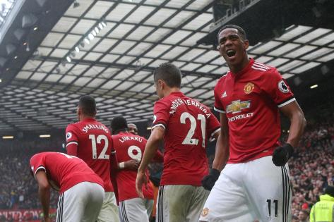 Anthony Martial célébrant son but contre Tottenham