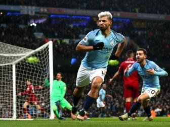 Sergio Agüero frappait le premier lors du choc face à Liverpool dans un angle quasi fermé (Crédits : Manchester Evening News)