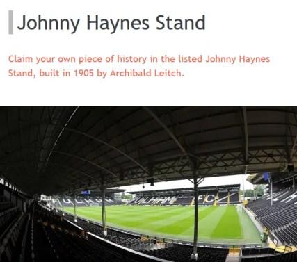 Le site officiel de Fulham invite à découvrir sa tribune historique (vue intérieure et donc sans briques rouges)