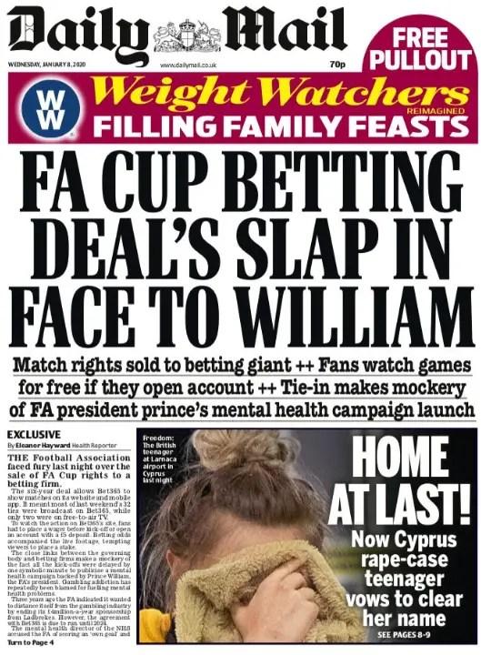 """""""L'accord de la FA sur les paris: une claque en plein visage pour William"""""""
