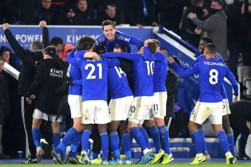 Leicester, célébrant la victoire contre Everton