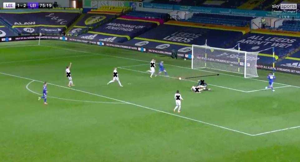 Under remet à Jamie Vardy qui n'a plus qu'à pousser le ballon au fond des filets. Les 10 joueurs de champ de Leeds en plus d'Illan Meslier ont été mis hors de portée par les Foxes en 4 passes, dont une de Schmeichel à Fuchs.