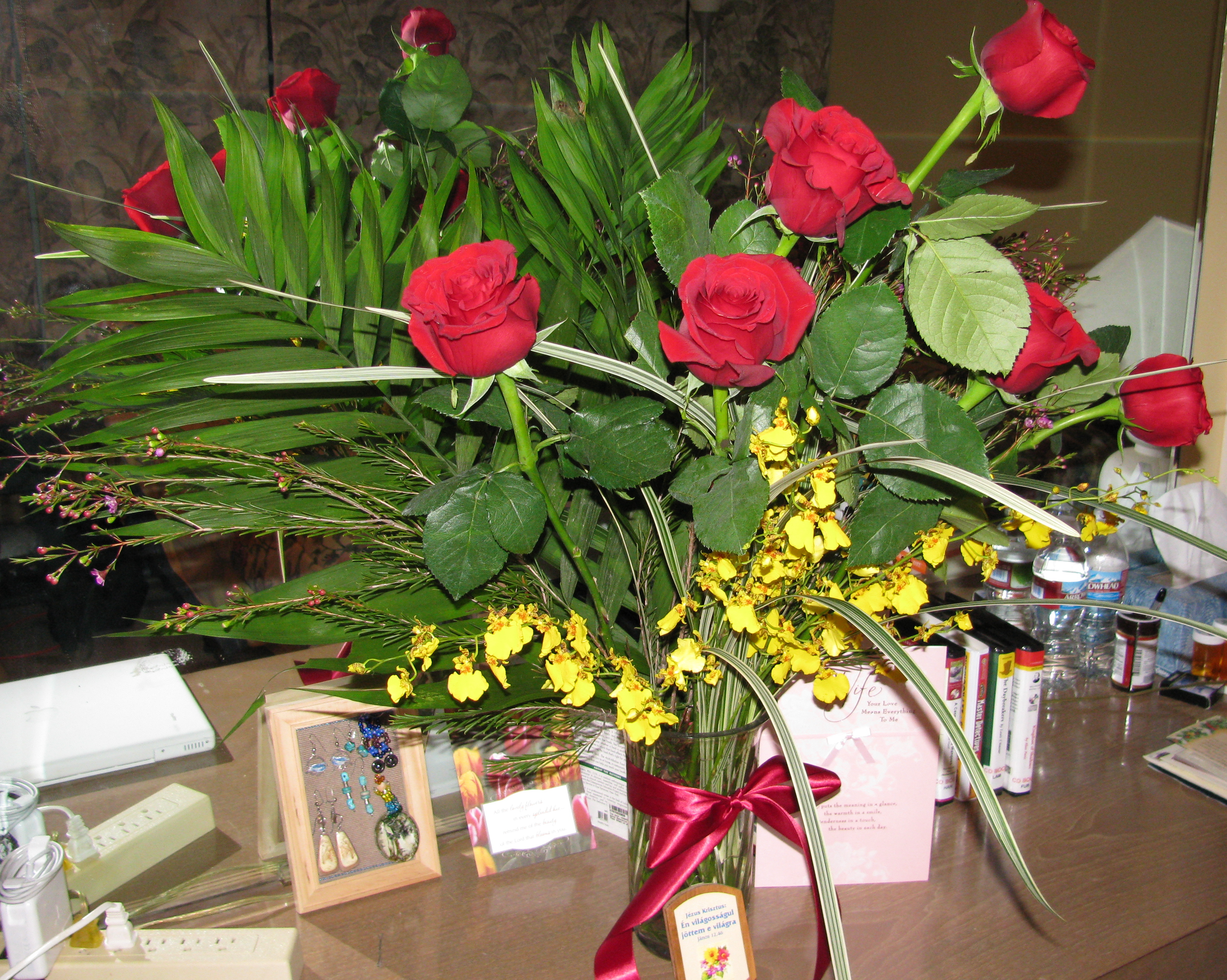 56th Anniversary Roses and Golden Miniature Orchids