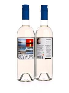 Nynorsk flaskebilde, front&bakside, hvit flaske