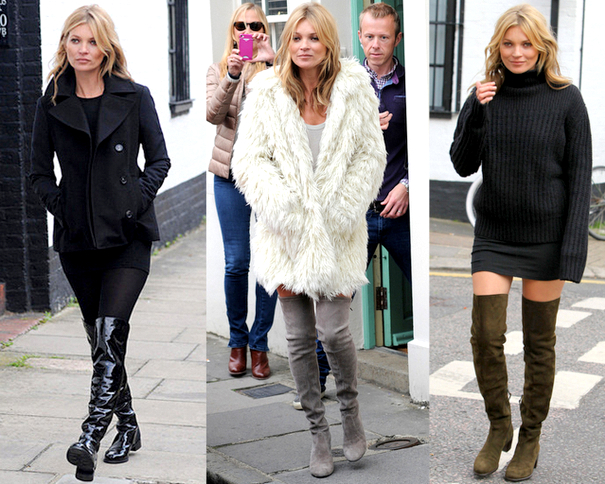 KATE MOSS LUCIENDO THIGH HIGH BOOTS DE  STUART WEITZMAN FALL 2013