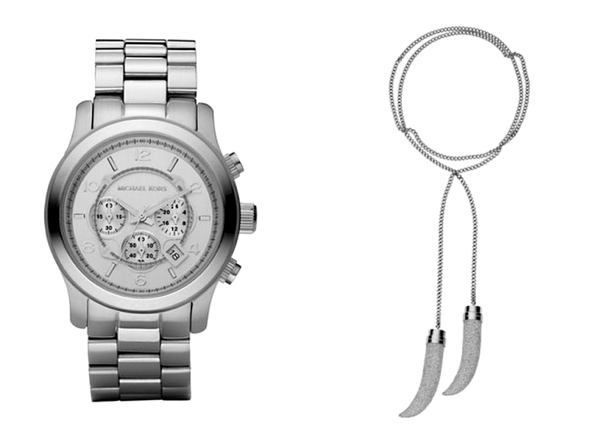 Michael Kors Silver Oversized Runway Watch, $250 - Michael Kors Pave-Horn Lariat Necklace, $375