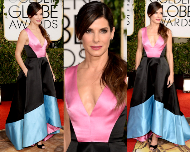 SANDRA BULLOCK in PRABAL GURUNG - 71st ANNUAL GOLDEN GLOBES AWARDS 2014