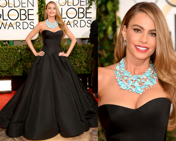 SOFIA VERGARA in ZAC POSEN - 71st ANNUAL GOLDEN GLOBES AWARDS 2014