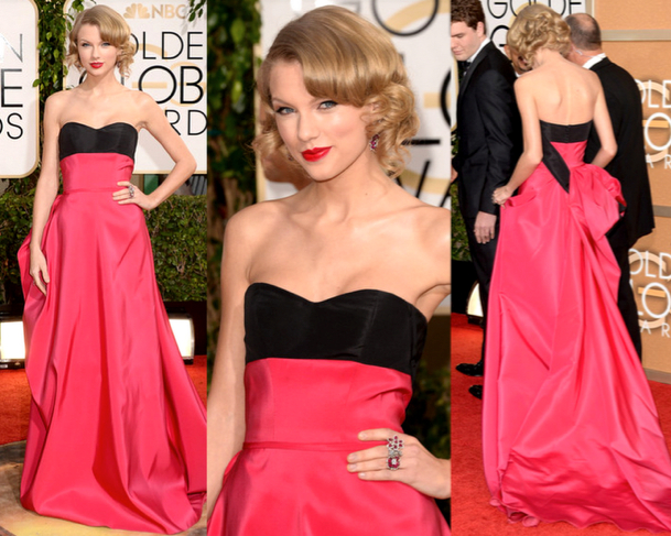TAYLOR SWIFT in CAROLINA HERRERA - 71st ANNUAL GOLDEN GLOBES AWARDS 2014