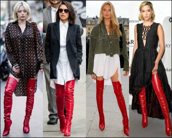 celebrities, models, trend, red boots, boots look, boots style, fendi rockoko
