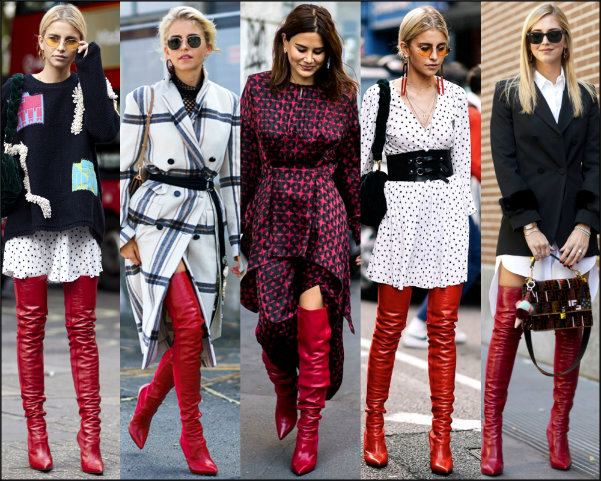 influencers, streetstyle, red boots, botas rojas, fashion week
