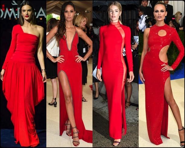 celebrities, red dress, vestido rojo, trend, tendencia, spring 2018, verano 2018