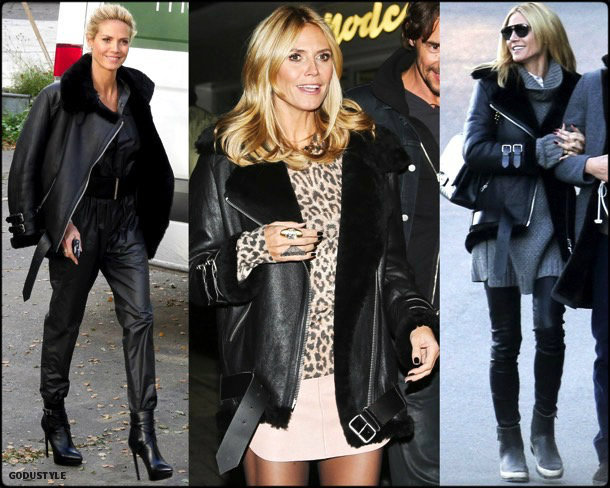acne, acne studios, heidi klum, celebrity fashion, winter fashion, fashion, jacket, leather jacket, shearling, streetstyle