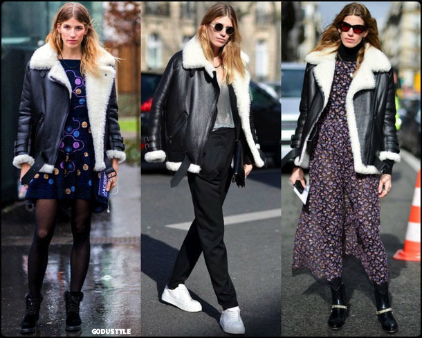acne, acne studios, veronika heilbrunner, celebrity fashion, winter fashion, fashion, jacket, leather jacket, shearling, streetstyle