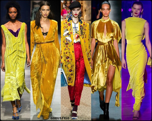 yellow, amarillo, runways, velvet, looks, fashion weeks, street style, fall 2018, trend, details, shopping, tendencias
