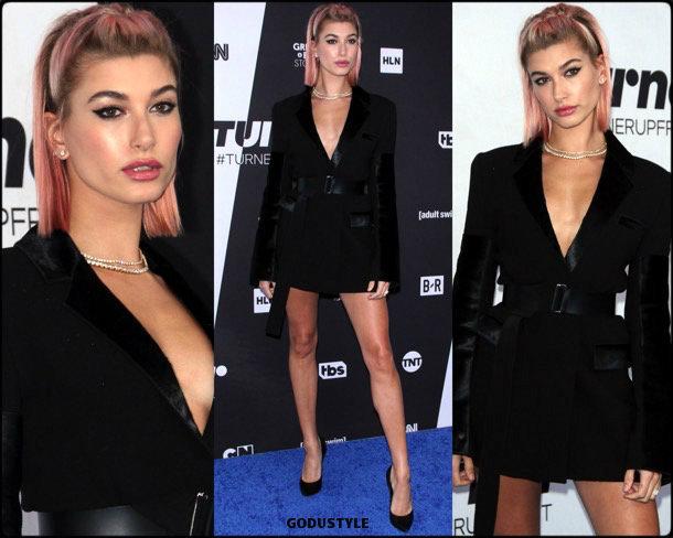 hailey baldwin, vestido tuxedo, trend, tendencia, vestido fiesta, party dress, shopping, look, style