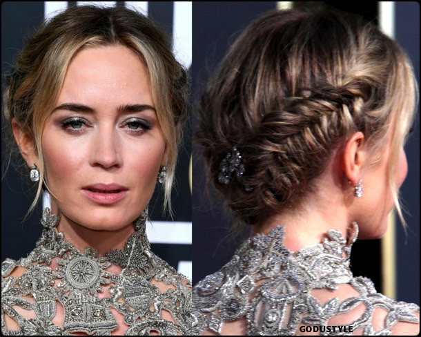 emiliy blunt, golden globes, party looks 2019, red carpets, beauty look, style, details, fashion