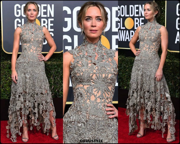 emily blunt, golden globes, party, looks 2019, red carpets, looks, style, details, fashion, globos oro